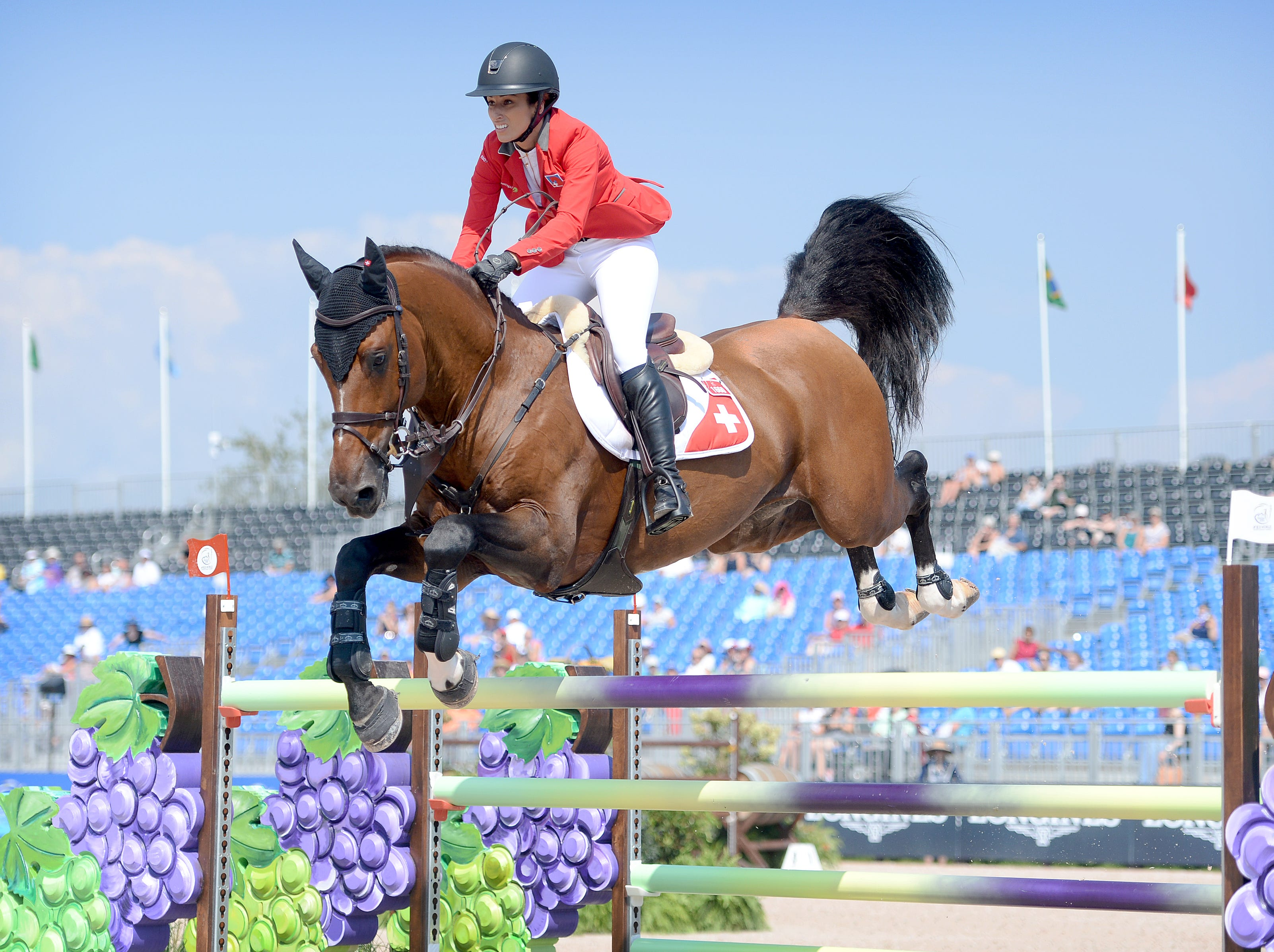 Switzerland's Janika Sprunger, on Bacardi VDL, competes in the team jumping competition at the FEI World Equestrian Games at the Tryon International Equestrian Center on Sept. 20, 2018.