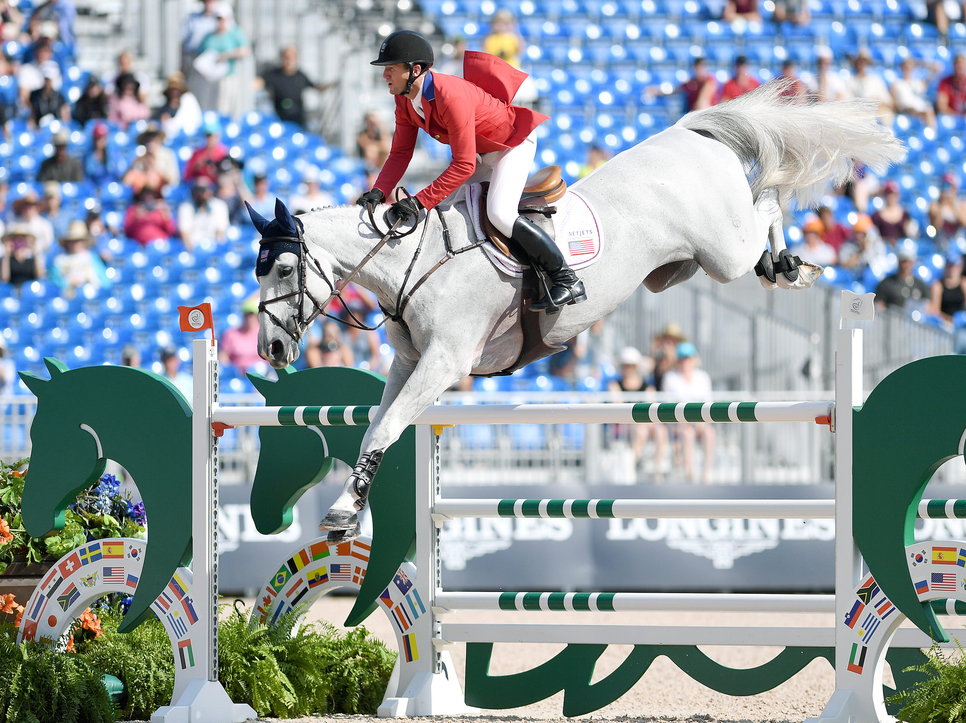American McLain Ward competes in the group jumping competition on horse, Clinta, during the FEI World Equestrian Games at the Tryon International Equestrian Center on Sept. 20, 2018.