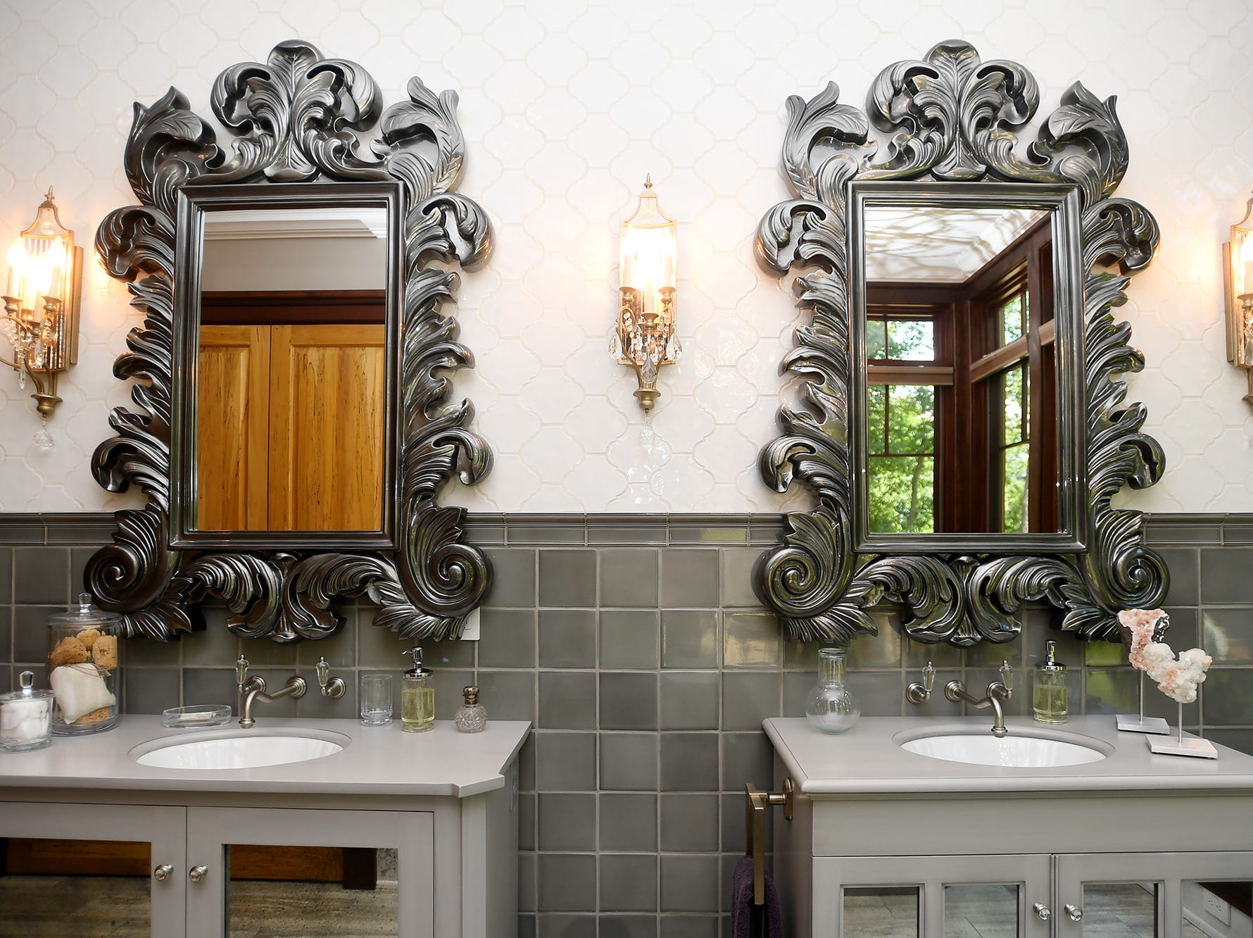 A guest bathroom in the Balsam Mountain Preserve home of Bobbye and Ken Bowdon.