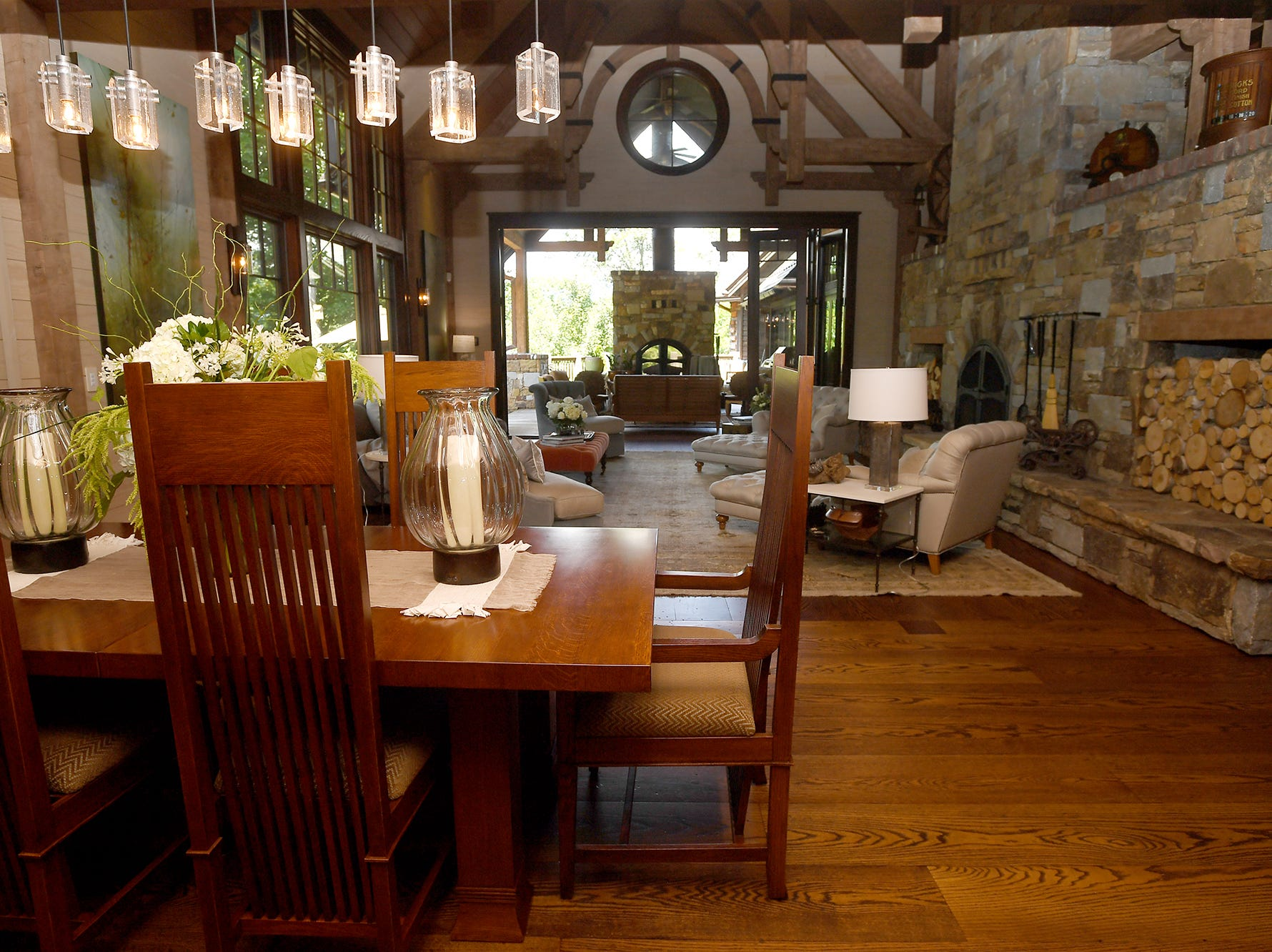 A view from the kitchen inside the Balsam Mountain Preserve home of Bobbye and Ken Bowdon.