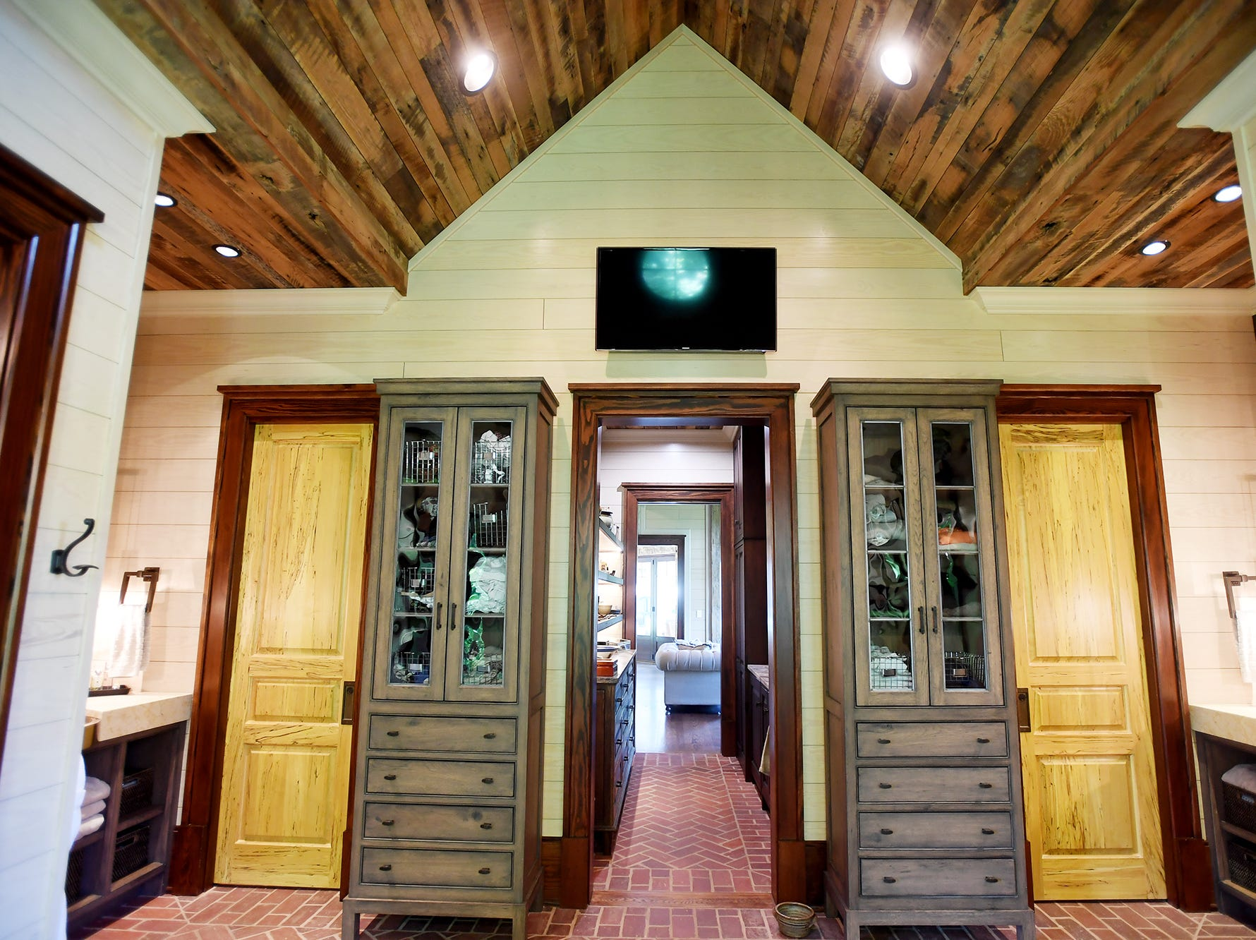 The master bathroom in the Balsam Mountain Preserve home of Bobbye and Ken Bowdon.