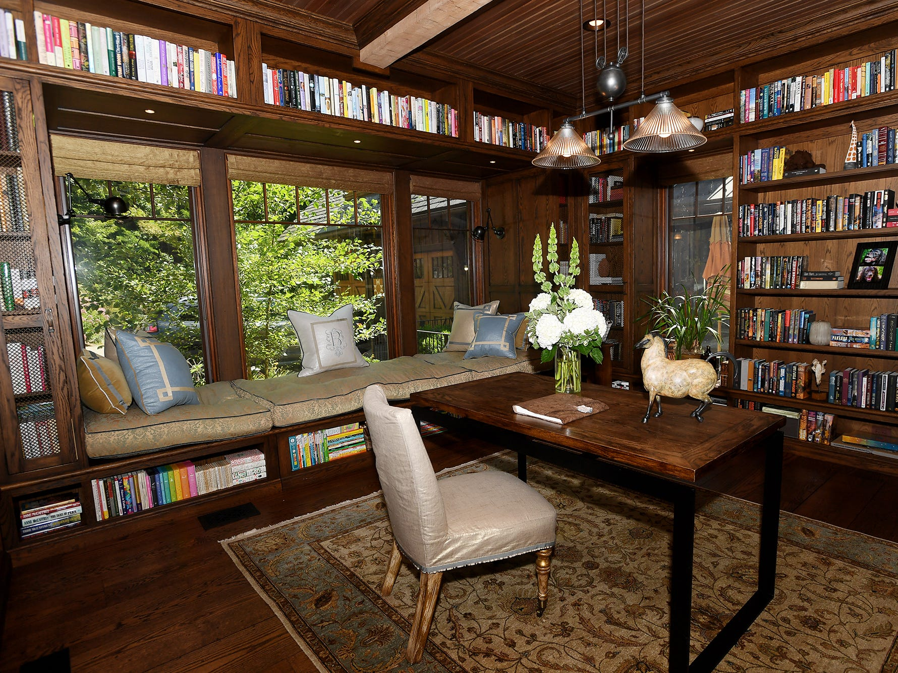 The library in the Balsam Mountain Preserve home of Bobbye and Ken Bowdon.