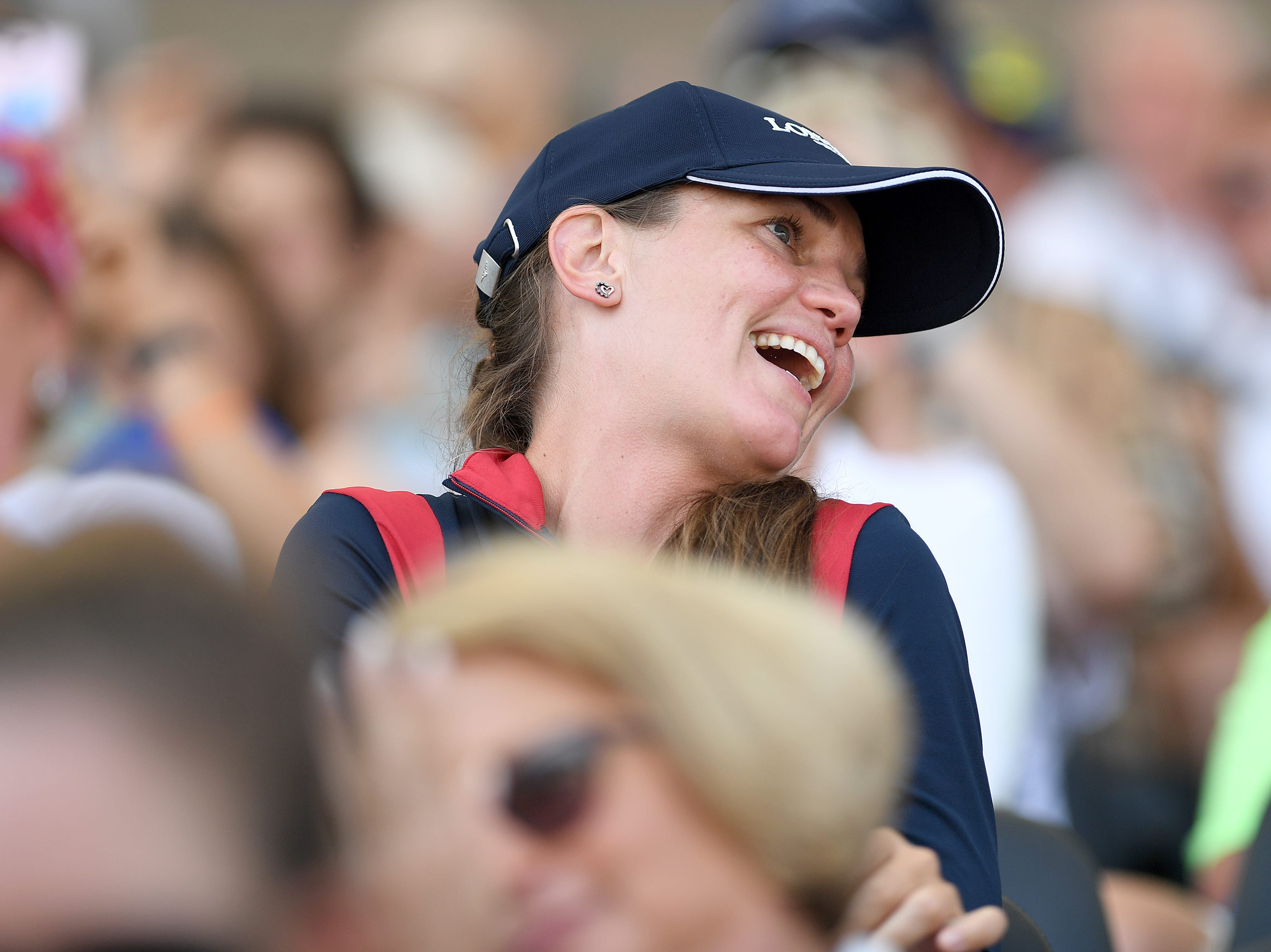 The crowd applauds after American McLain Ward competes in the group jumping competition on horse, Clinta, during the FEI World Equestrian Games at the Tryon International Equestrian Center on Sept. 20, 2018.