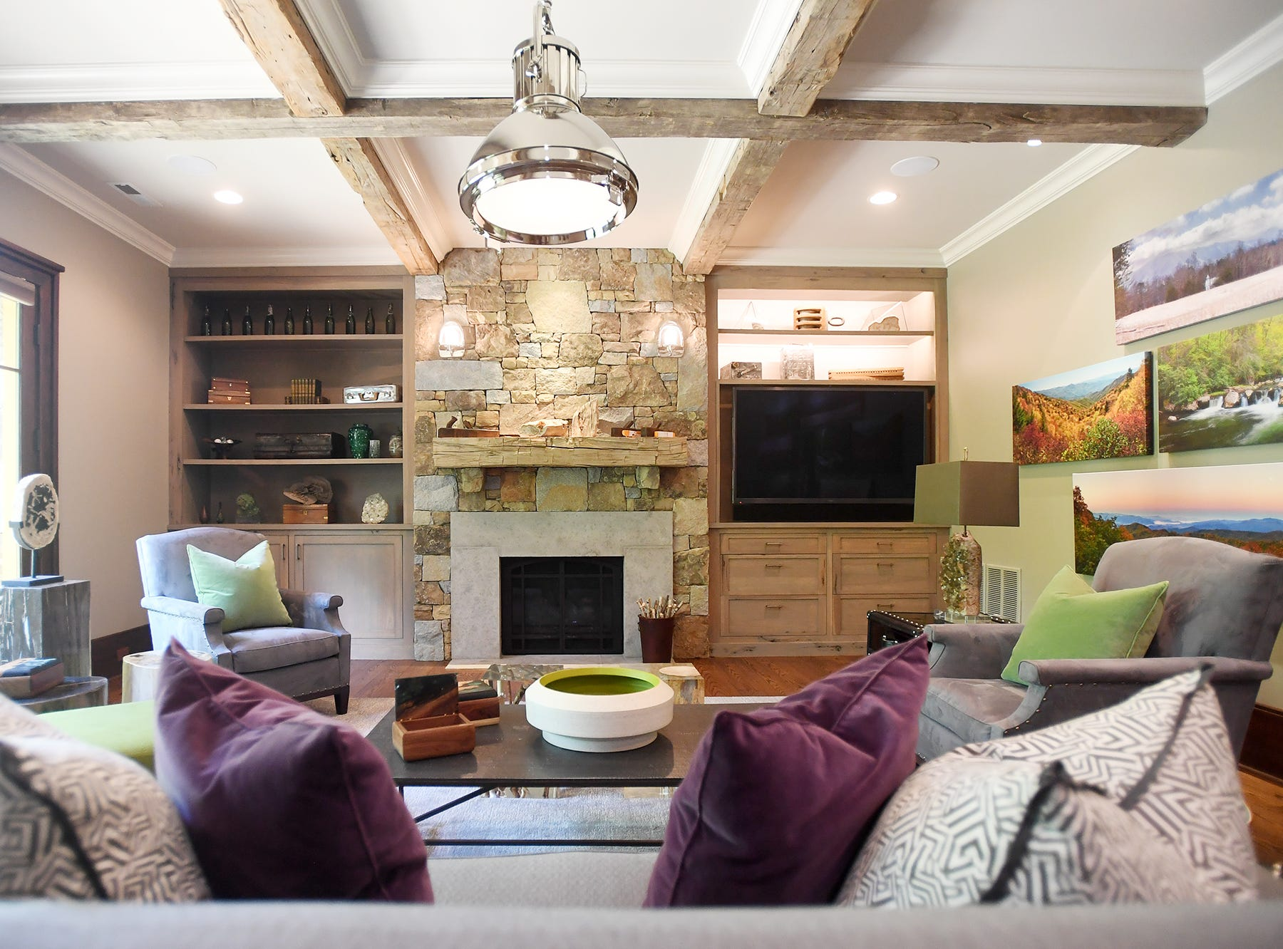 A basement entertainment room in the Balsam Mountain Preserve home of Bobbye and Ken Bowdon.
