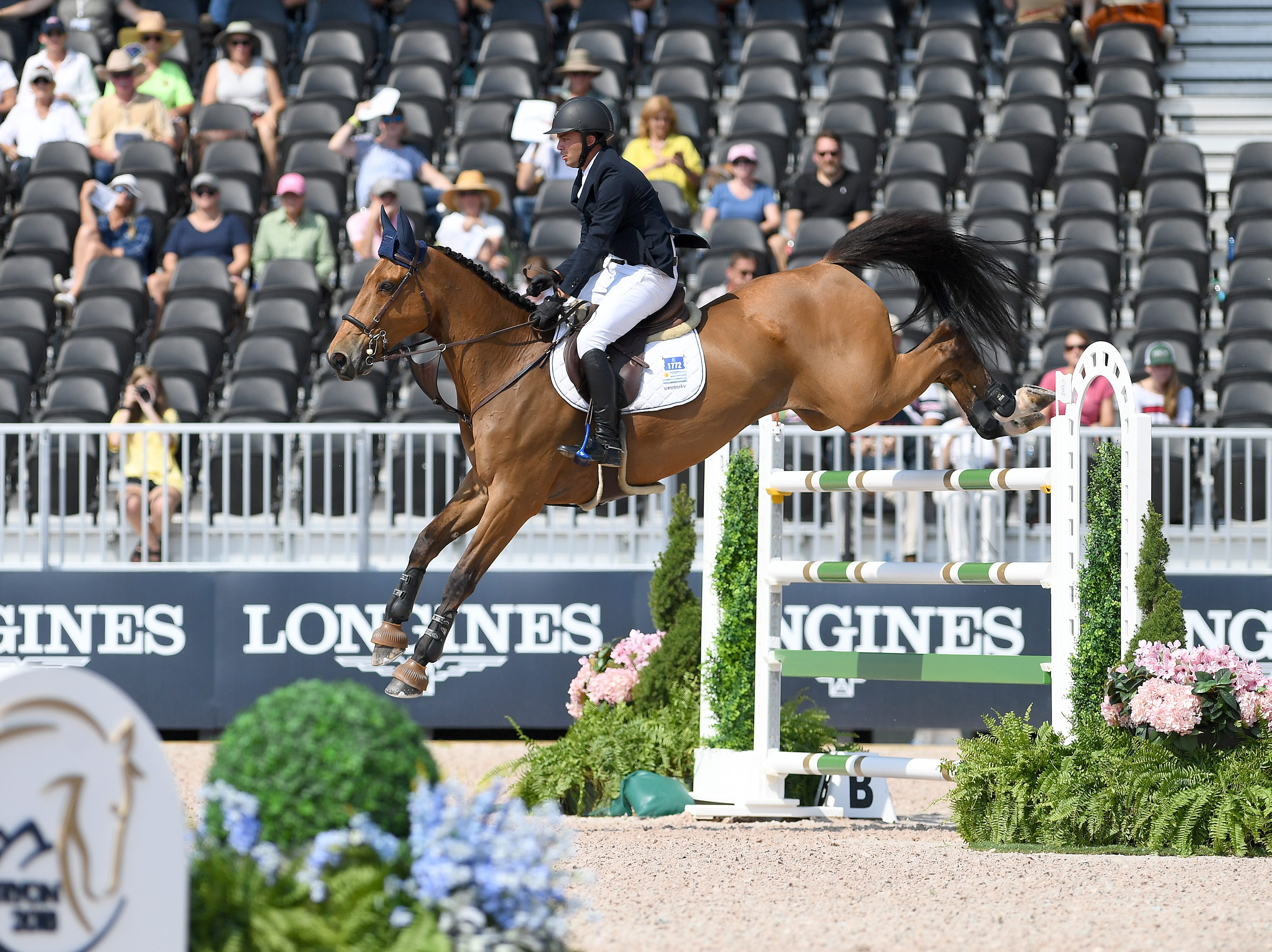 Uruguay's Marcelo Chirico Ferreira, on QH Baloudarc LF, competes in the team jumping competition of the FEI World Equestrian Games at the Tryon International Equestrian Center on Sept. 20, 2018.