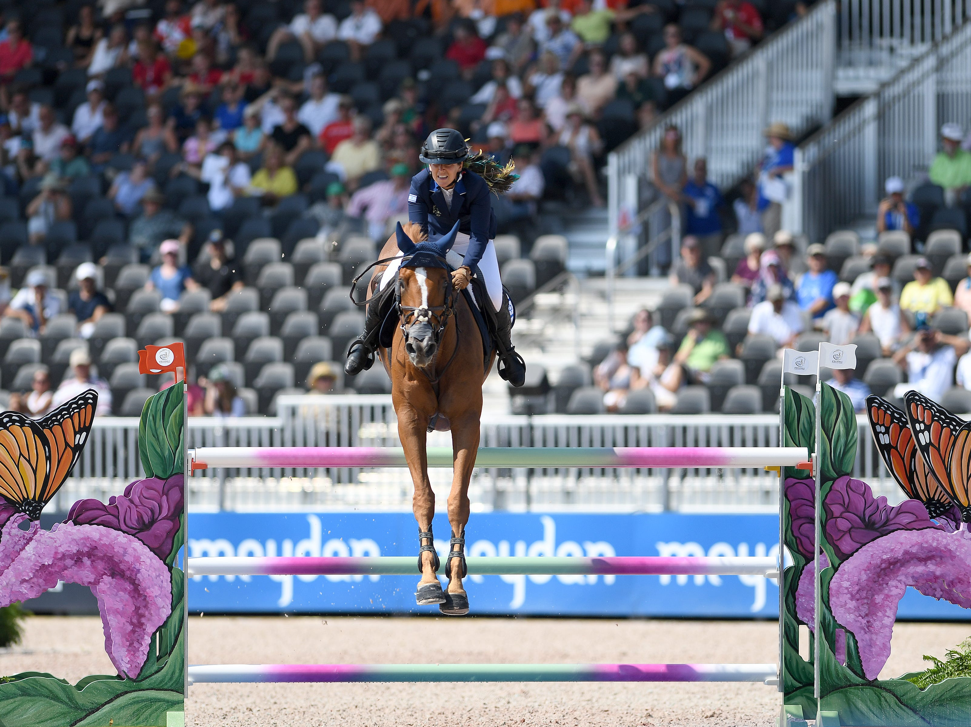 Israel's Danielle Goldstein, on Lizziemary, competes in the team jumping competition of the FEI World Equestrian Games at the Tryon International Equestrian Center on Sept. 20, 2018.