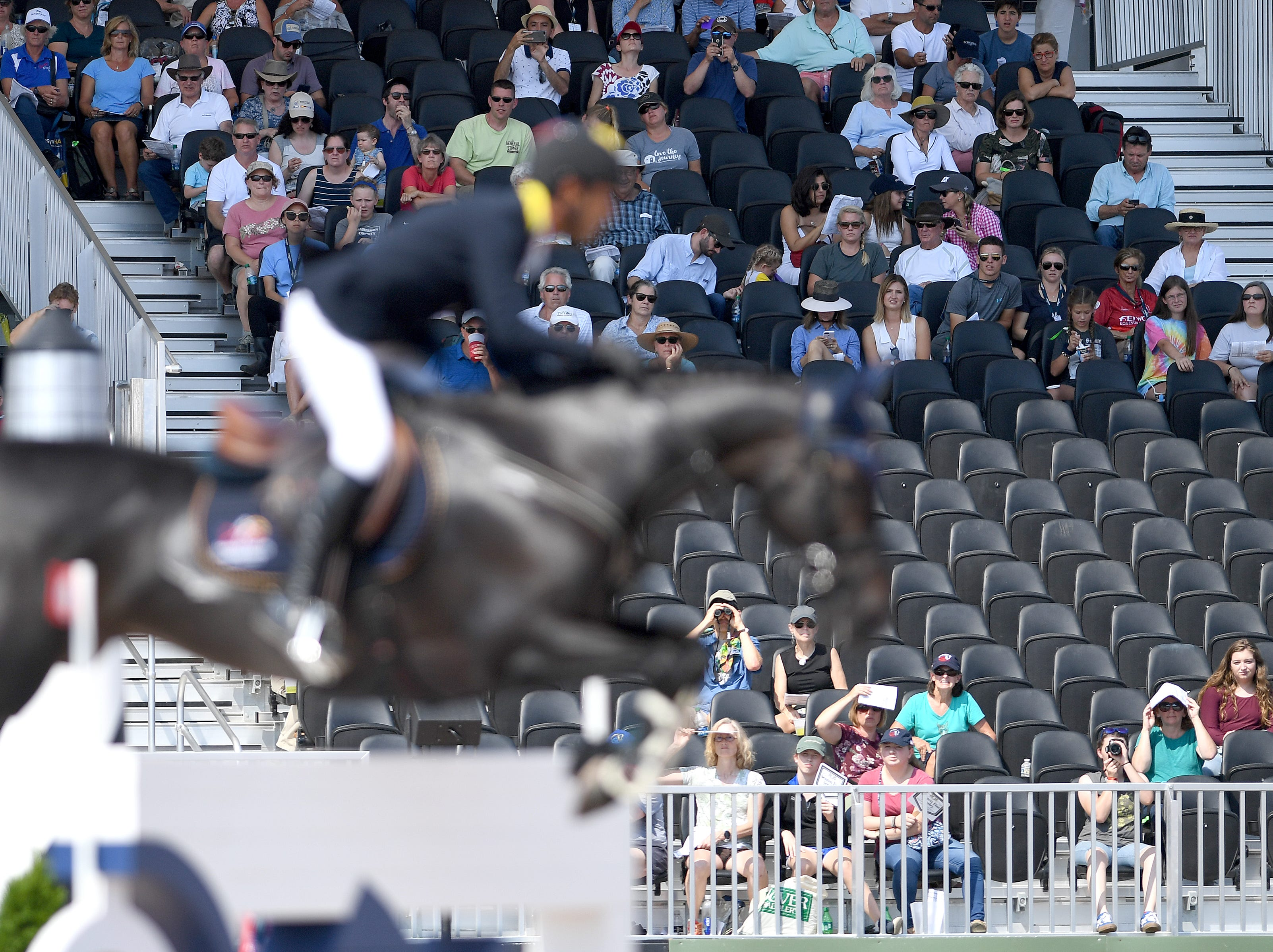 Fans watch the team jumping competition of the FEI World Equestrian Games at the Tryon International Equestrian Center on Sept. 20, 2018.