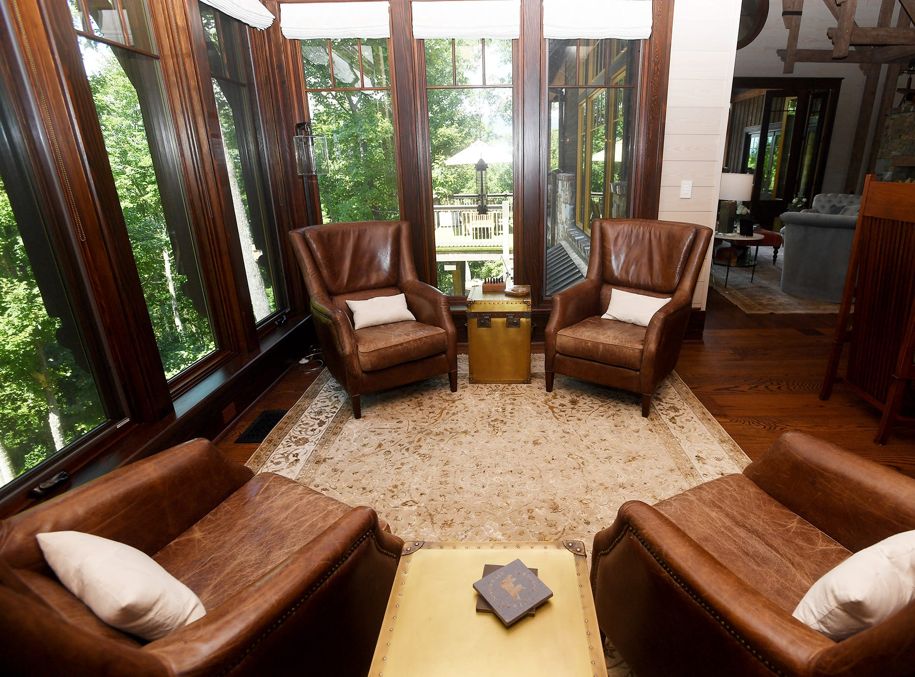 A sitting area in the kitchen in the Balsam Mountain Preserve home of Bobbye and Ken Bowdon.