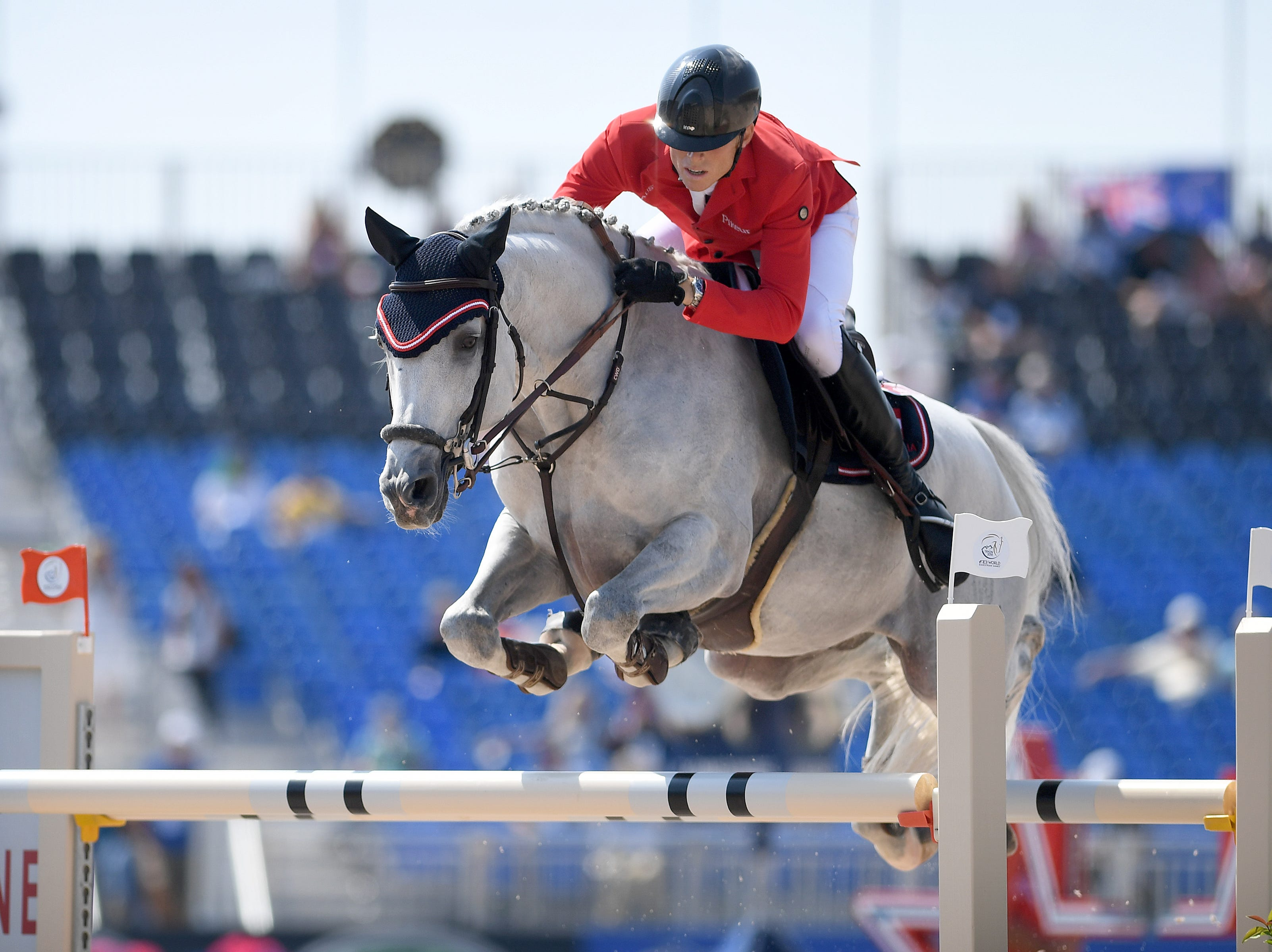 Austria's Max Kuhner, on Chardonnay, competes in the team jumping competition of the FEI World Equestrian Games at the Tryon International Equestrian Center on Sept. 20, 2018.