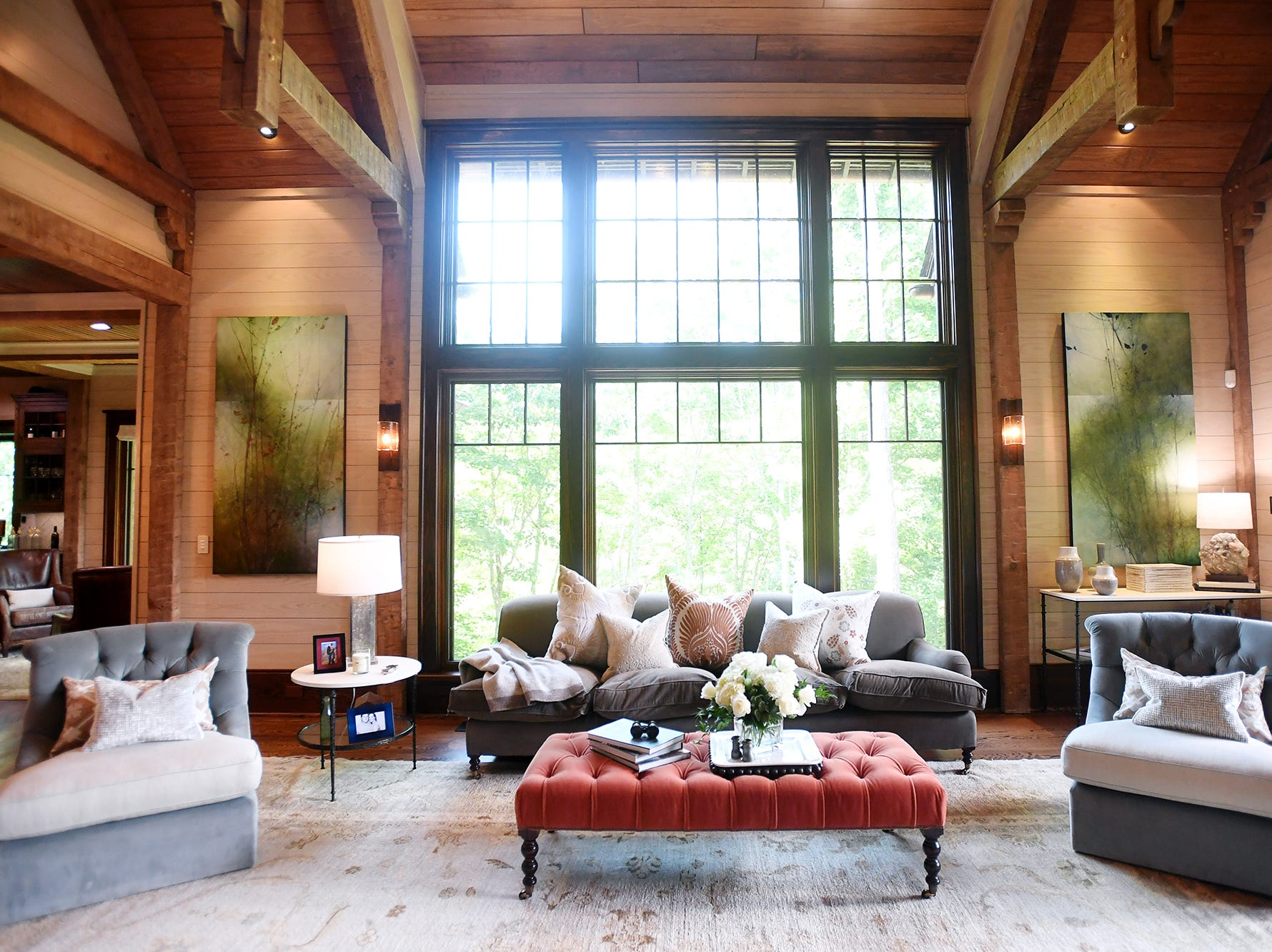 The grand room inside the Balsam Mountain Preserve home of Bobbye and Ken Bowdon.