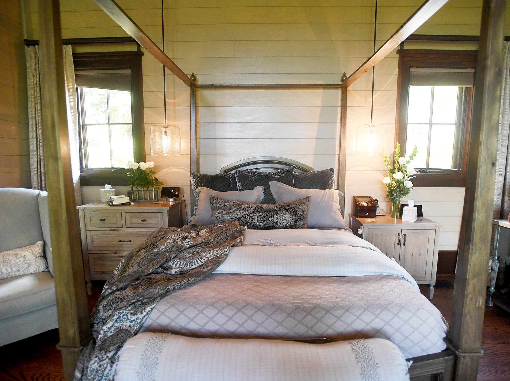 The master bedroom in the Balsam Mountain Preserve home of Bobbye and Ken Bowdon.