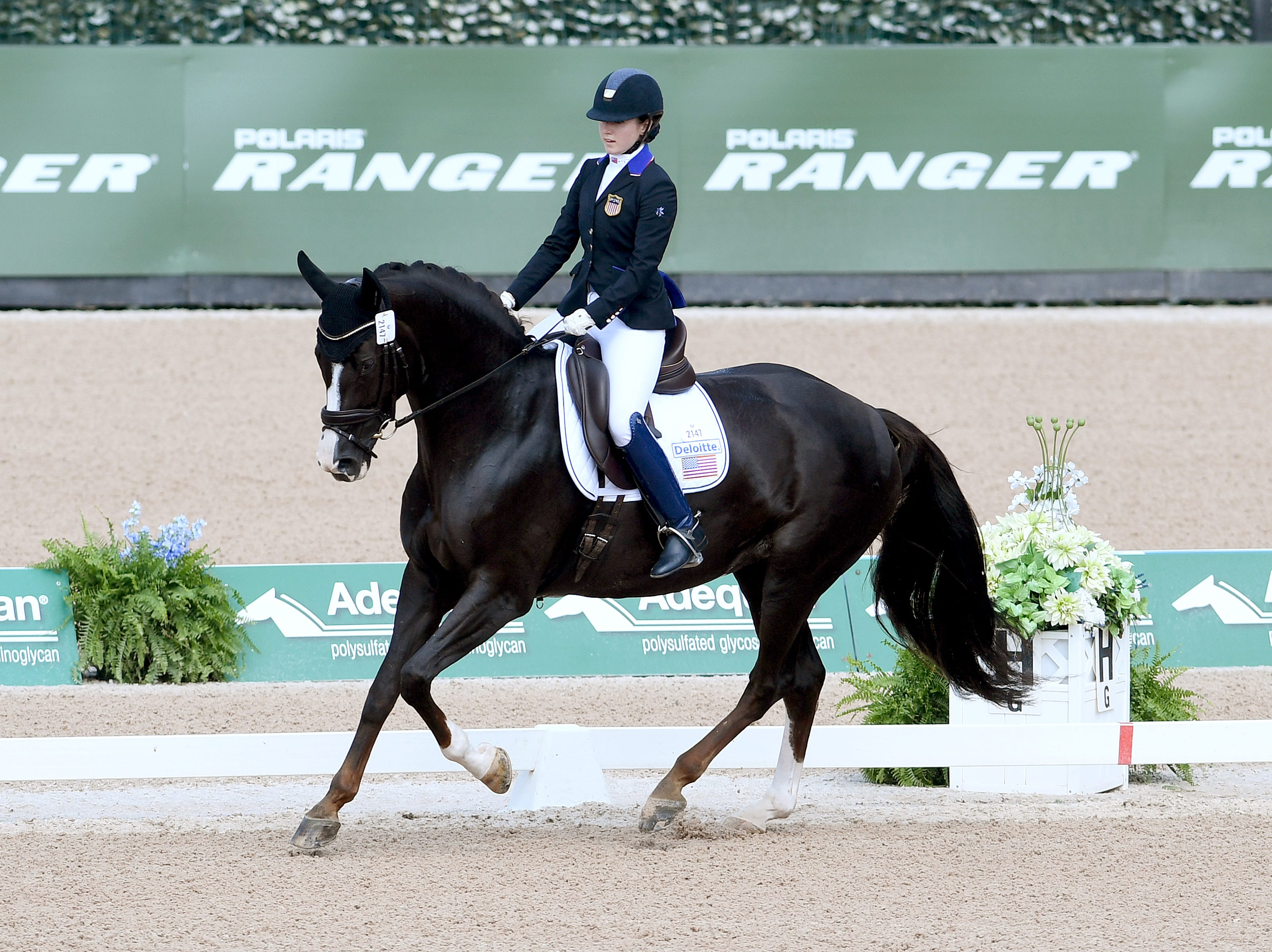 American Angela Peavy performs in the Para-dressage event of the FEI World Equestrian Games at the Tryon International Equestrian Center on Sept. 20, 2018. Whitaker created the choreography for Peavy's freestyle competition.