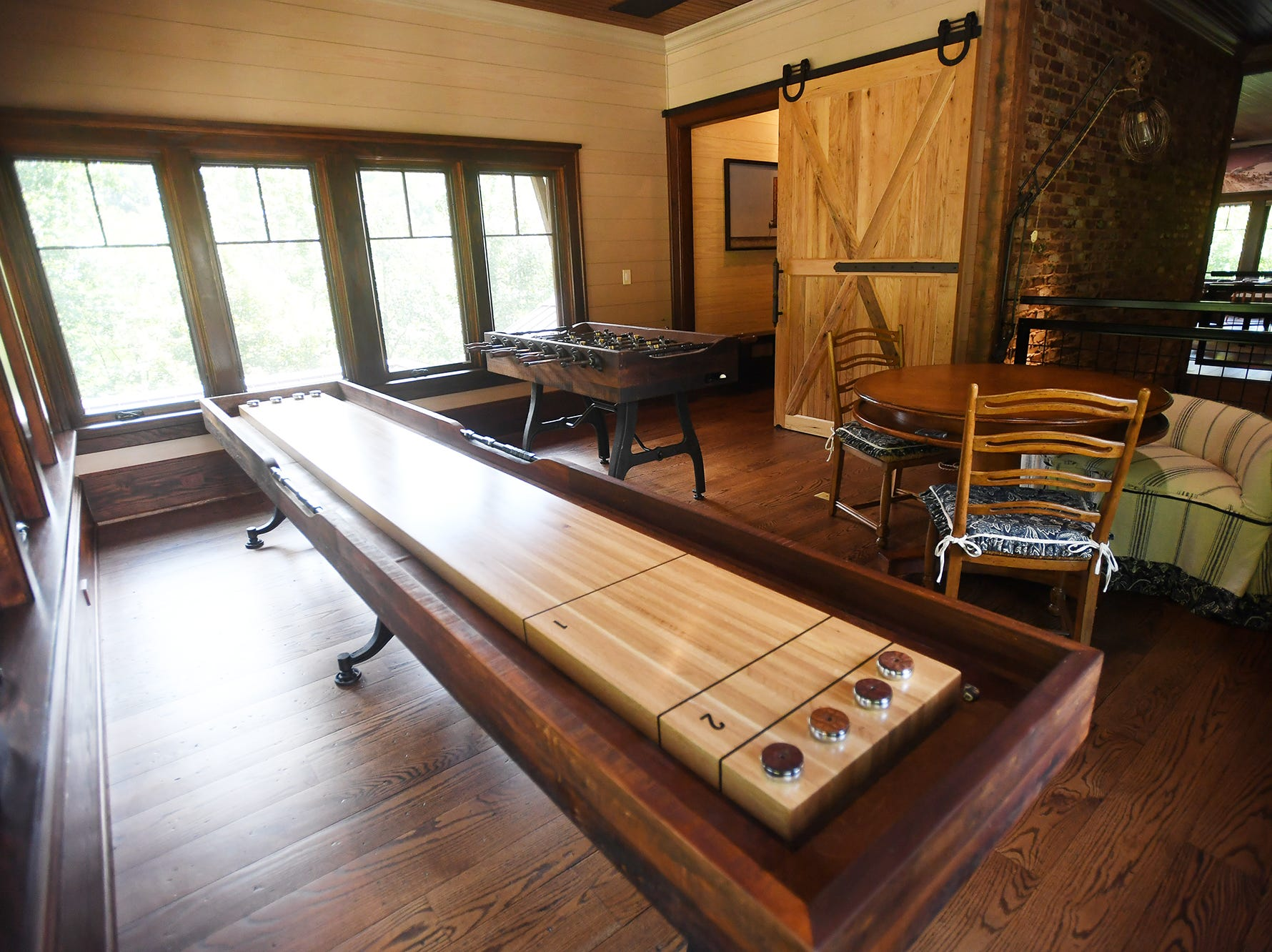 A game room in the Balsam Mountain Preserve home of Bobbye and Ken Bowdon.