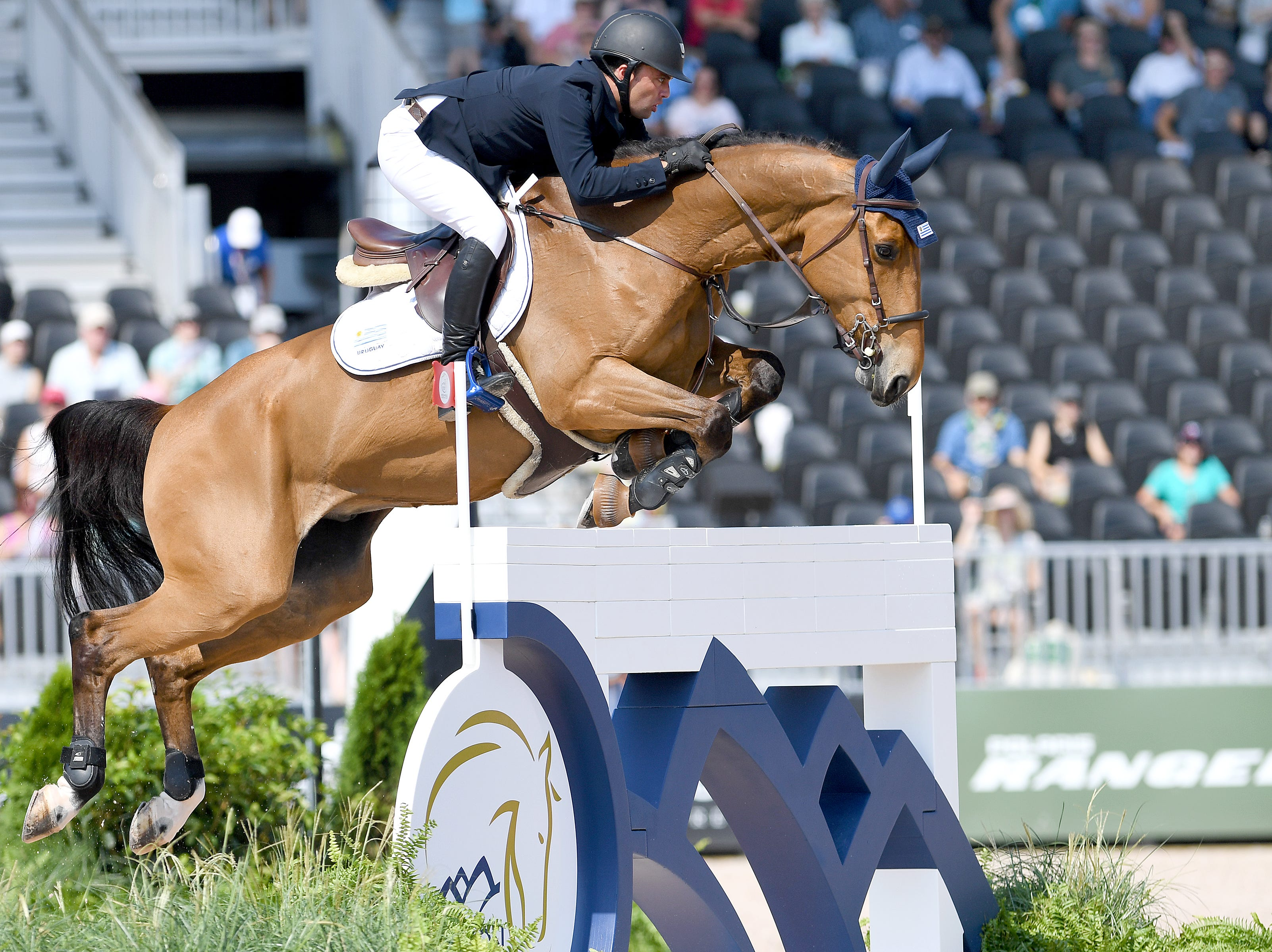 Uruguay's Marcelo Chirico Ferreira, on QH Baloudarc LF, competes in the team jumping competition at the FEI World Equestrian Games at the Tryon International Equestrian Center on Sept. 20, 2018.