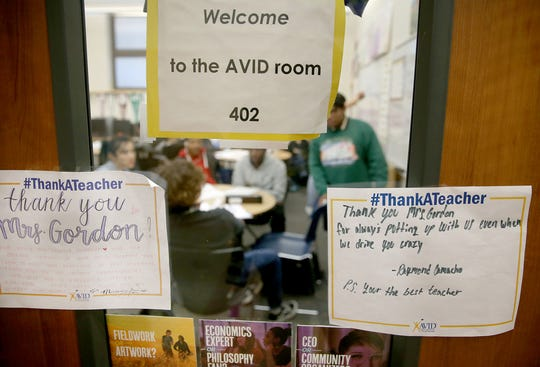 Signs from students are posted on the classroom door to Bremerton High School's AVID class. Bremerton has the longest-running AVID program; it's expanded to Central Kitsap and South Kitsap School District, and North Mason started the program this school year.