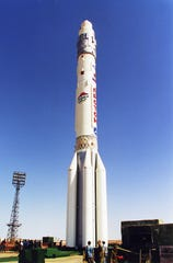 Pizza Hut put its logo on a Russian Proton rocket that launched from Kazakhstan on July 12, 2000, carrying the International Space Station's Zvezda module.