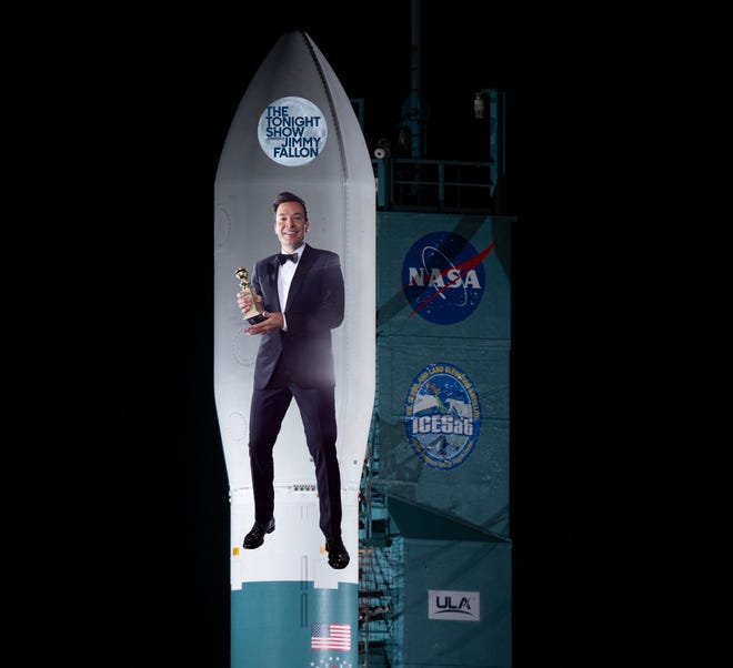 "In a humorous tweet, NASA Administrator Jim Bridenstine asked ""The Tonight Show"" host Jimmy Fallon if he would be interesting in buying naming rights to a rocket, showing a mockup of his his picture on a Delta II rocket nose cone. The space agency is studying whether it could sell rocket and spacecraft naming rights as a way to offset costs and speed up the commercialization of low Earth orbit space."