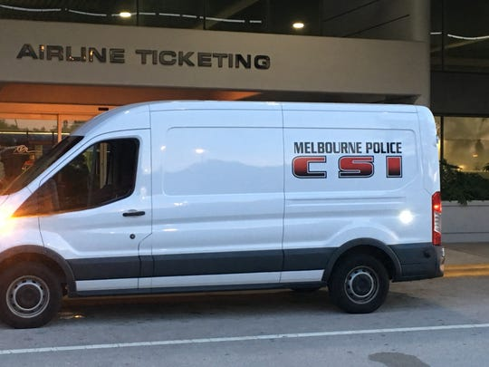 Orlando Melbourne International Airport was on lockdown Sept. 20, 2018, after a security breach. Shown is the Melbourne Police Department's crime scene van.