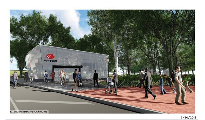 The proposed entrance for the future reopening of the PATCO Hi-Speedline  at Franklin Square in Philadelphia is along 7th Street near Race Street in this ground  level glass building.
