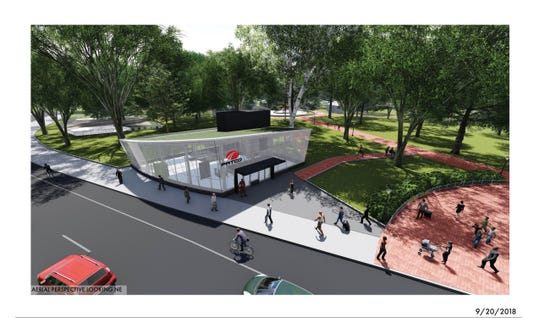 """The closed PATCO Hi-Speedline station at Franklin Square in Philadelphia may feature this early design for a glass """"headhouse"""" entrance building when the station reopens in a projected four years."""