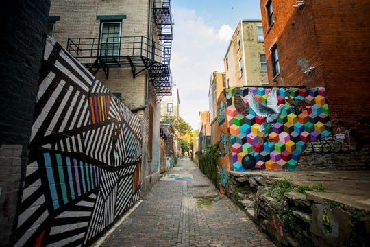 14 murals are featured in Bolivar Alley in Pendleton as part of the New Lines Alleyway Murals: Phase II by ArtWorks.