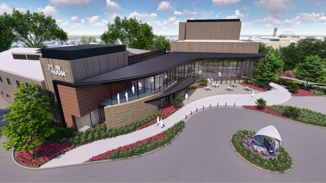 How the Playhouse in the Park will look after $39.5 million addition, under a design accepted by the Cincinnati park commissioners on Thursday. This aerial rendering is looking north; you can see the Cincinnati Art Museum in the background.