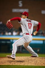 Los Angeles Angels starting pitcher Shohei Ohtani (17) pitches in the fifth inning against the Detroit Tigers at Comerica Park.
