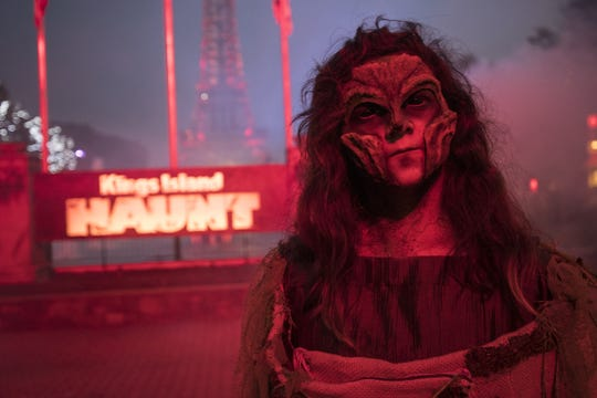 A monster stands at the front entrance of the Halloween Haunt which will run every Friday and Saturday through Oct. 27.