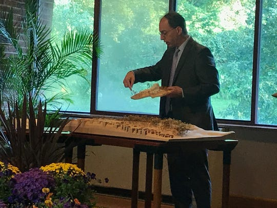 BHDP Design Leader Tom Arends explains the new additions to Playhouse in the Park to the Cincinnati Park Board on Sept. 20, 2018.
