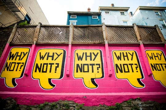 ÒWhy Not?Ó designed by Leon Reid IV is featured in Bolivar Alley in Pendleton as part of New Lines Alleyway Murals: Phase II by ArtWorks.