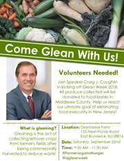 Speaker Craig Coughlin (D-Middlesex) will host an event Saturday, Sept. 22, to participate in New Jersey Gleaning Week.
