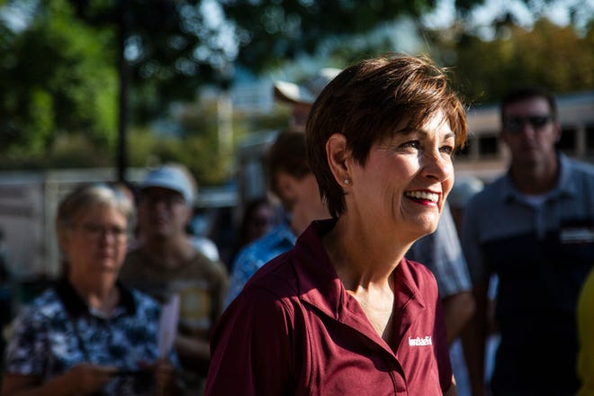 Iowa Governor Kim Reynolds attends the historic walking tour on the first day of the Iowa State Fair on Thursday, Aug. 9, 2018, in Des Moines.