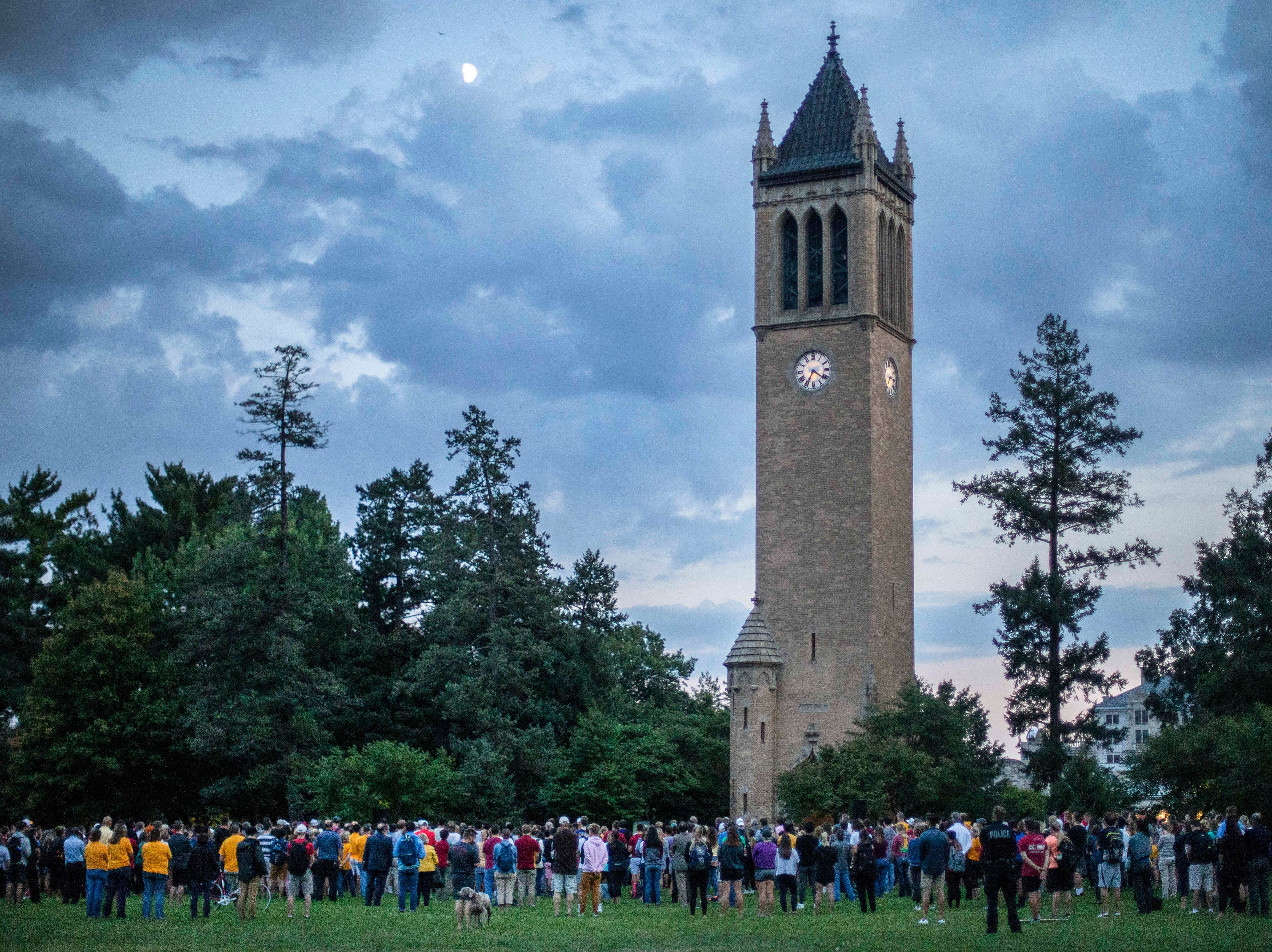 Iowa State students and friends of Celia Barquin Arozamena gathered in the hundreds to mourn their fellow student during a vigil on Wednesday, Sept. 19, 2018, in Ames.