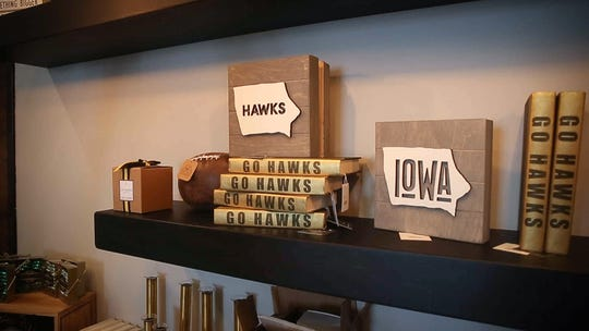 Iowa Hawkeyes themed decorations are available at Forget Me Not, a new decor store in Ankeny co-owned by Missey Michel and Mindy Seeman.