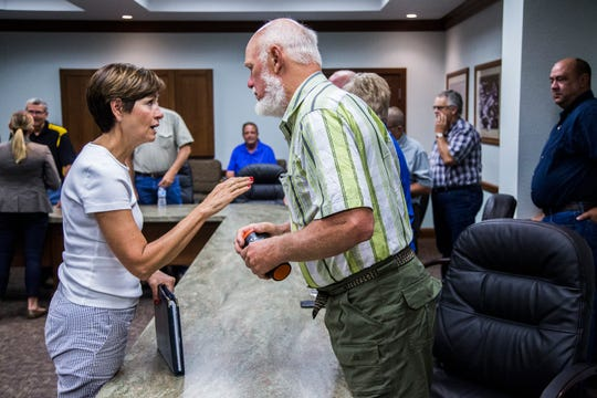 Jon Nissen, a corn producer from Renwick, speaks to Governor Kim Reynolds during a roundtable discuss on Chinese tariffs and the impact they are having on Iowa's agriculture production on Thursday, July 12, 2018, at the Gold-Eagle Cooperative in Eagle Grove.