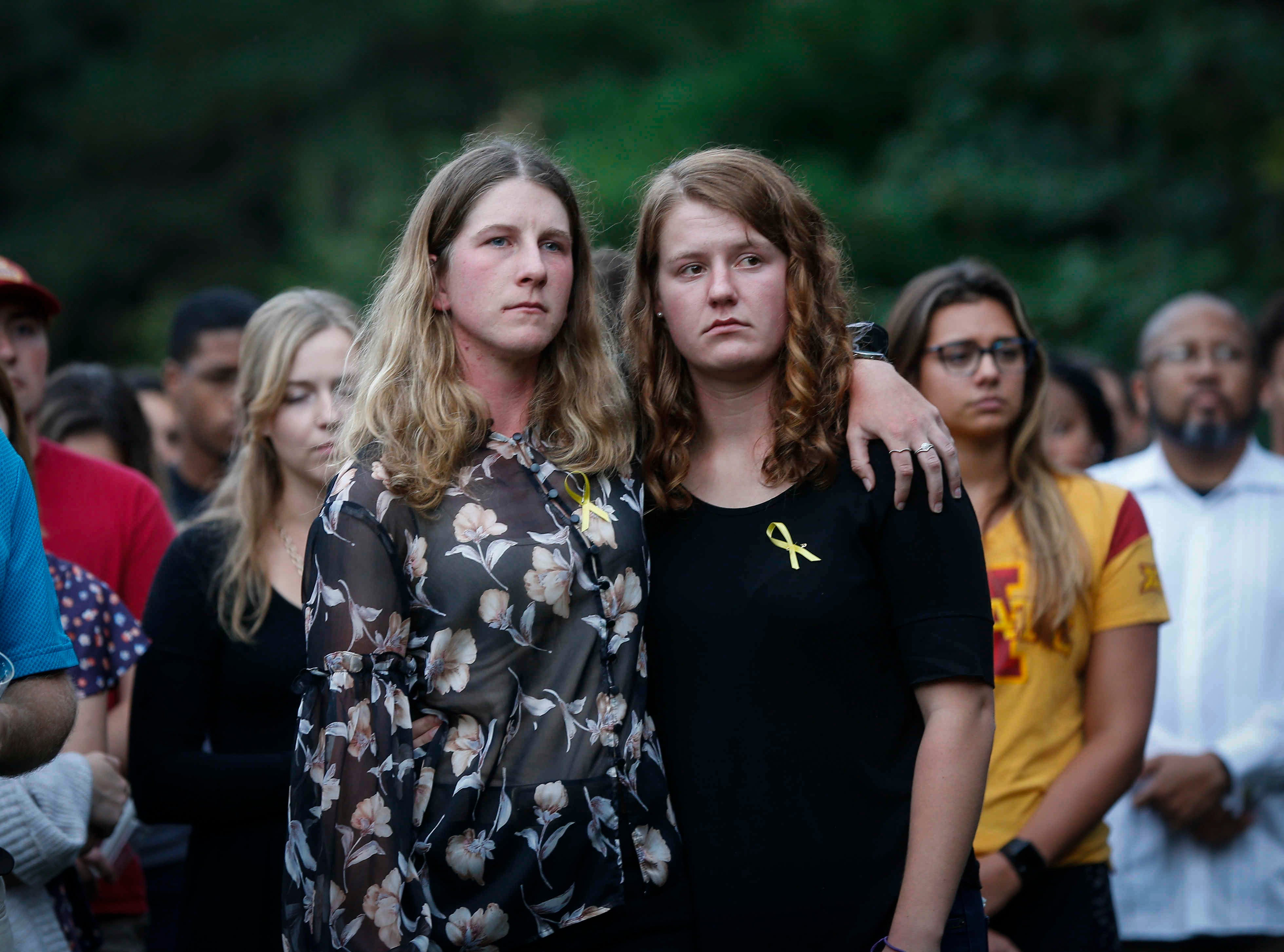 Iowa State students and friends of Celia Barquin Arozamena mourn their fellow student during a vigil on Wednesday, Sept. 19, 2018, in Ames.