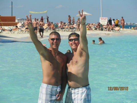 Jacob Seeman, left, and his brother-in-law Dennis Michel had a lot of fun together, even wearing nearly similar swim trunks on vacation.
