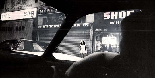 This 1973 photo shows the view from inside a STRESS unit patrol car. The controversial police decoy program called STRESS (Stop the Robberies, Enjoy Safe Streets) was targeted by civil rights leaders as a profiling program aimed at black youths.
