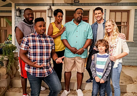 'The Neighborhood' premieres Monday, October 1 on  CBS. (L-R): Sheaun McKinney (Malcolm Butler), Marcel Spears (Marty Butler), Tichina Arnold (Tina Butler), Cedric the Entertainer (Calvin Butler), Max Greenfield (Dave Johnson), Hank Greenspan (Grover Johnson) and Beth Behrs (Gemma Johnson).