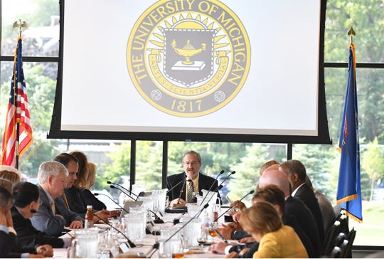 President of the University of Michigan Mark Schlissel presides over the University of Michigan regents meeting at Richard L. Postma Family Clubhouse in Ann Arbor, Michigan on September 20, 2018.