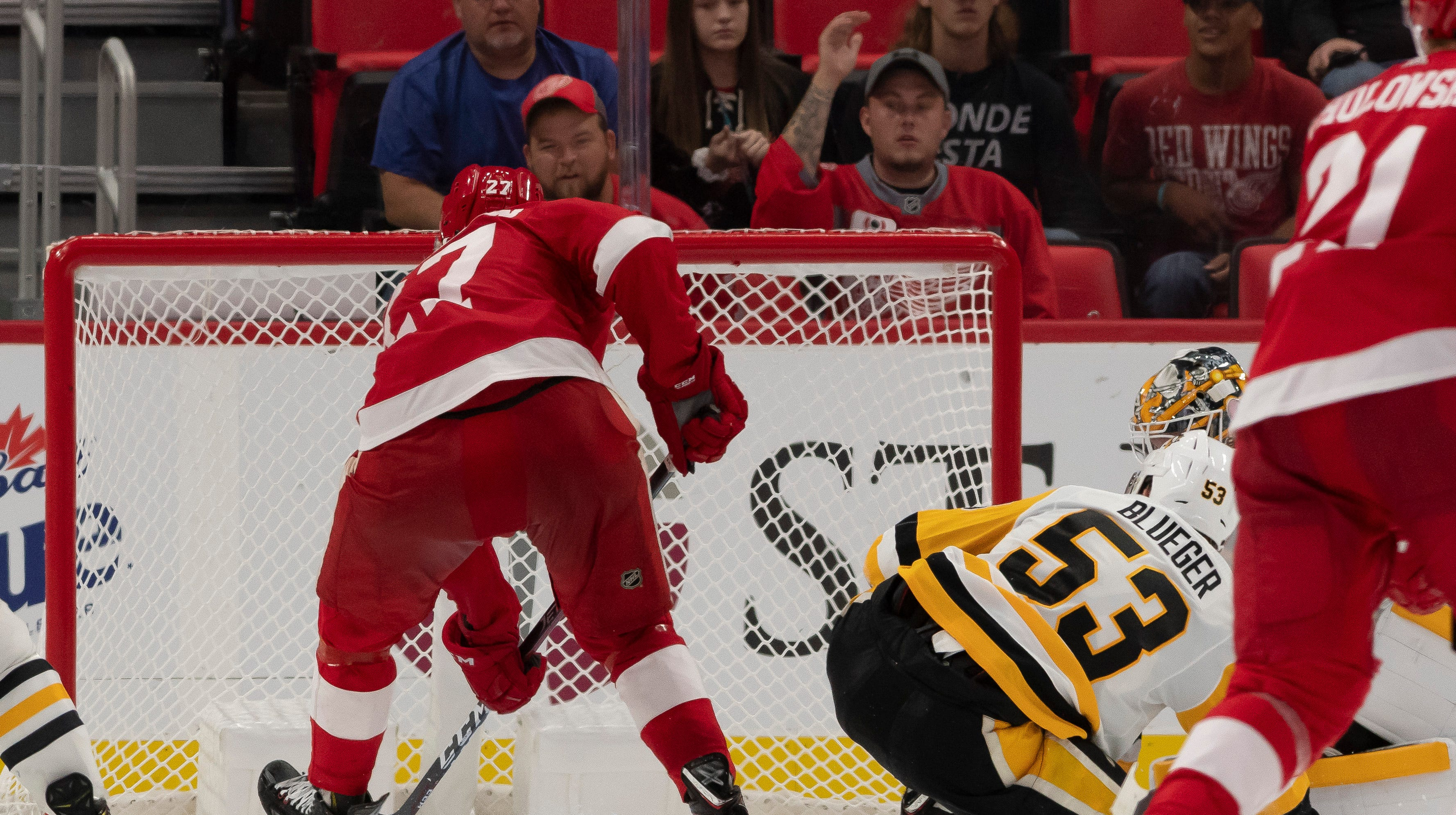Red Wings' Rasmussen helps his cause with OT winner vs. Penguins