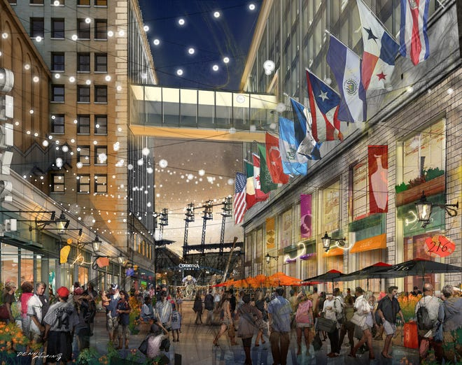 M Den said Thursday it is opening its first Detroit location in the expanded Little Caesars world headquarters along Columbia Street, where a promenade will feature shopping, dining and festoon lighting.