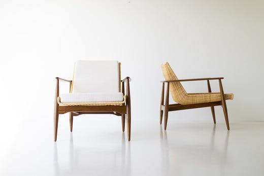 When This Lawrence Peabody Chair Was Introduced In 1962 The Rattan Sling Imported From