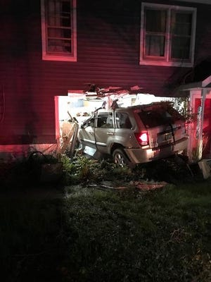 A driver fled the scene after allegedly crashing into a home Wednesday night on Joslyn in Orion Township.