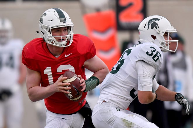 Rocky Lombardi's responsibilities have grown from backing up starting quarterback Brian Lewerke to also handling punting duties.