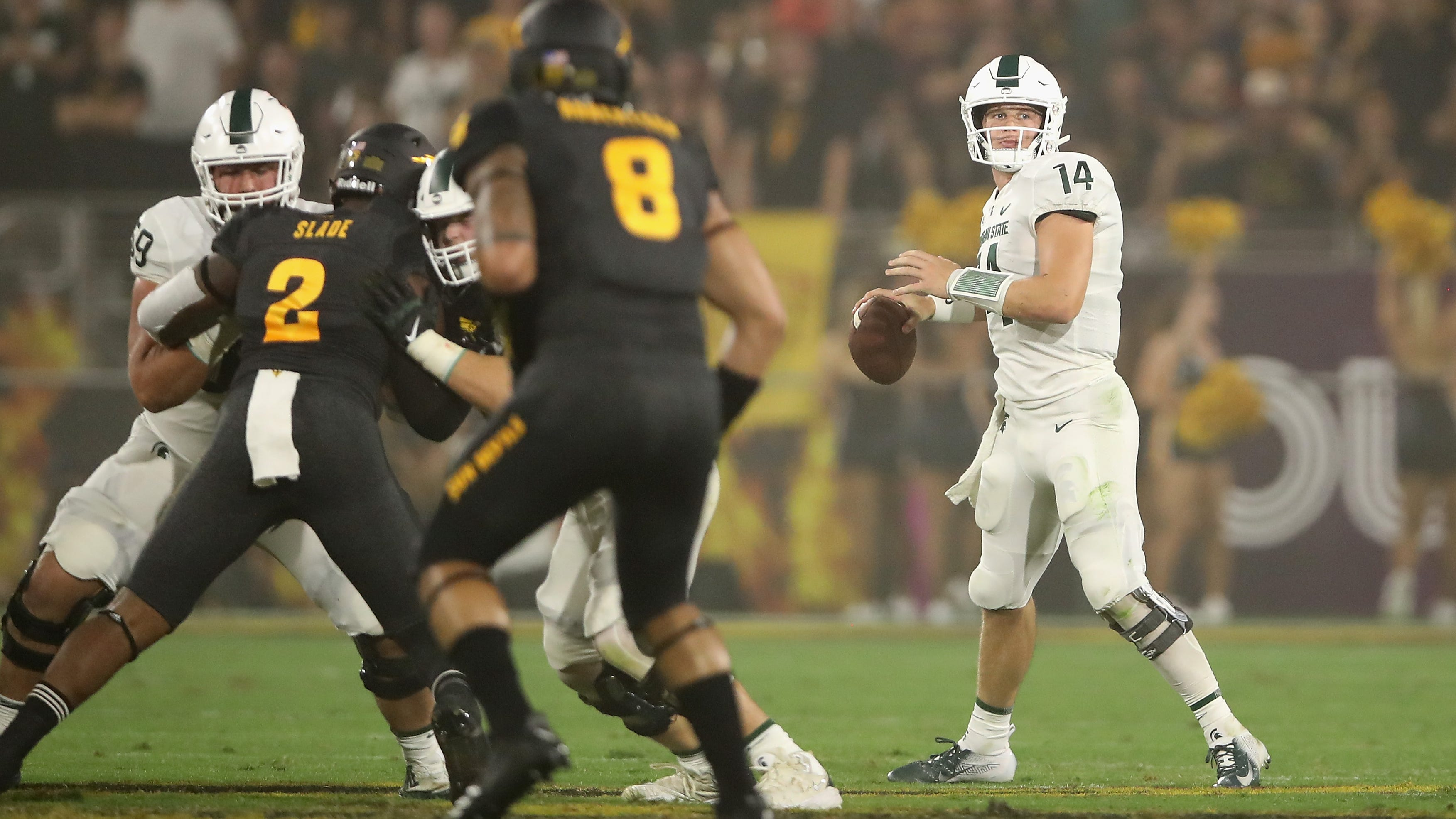 Brian Lewerke and the Michigan State Spartans are favored by 4.5 points against Indiana.