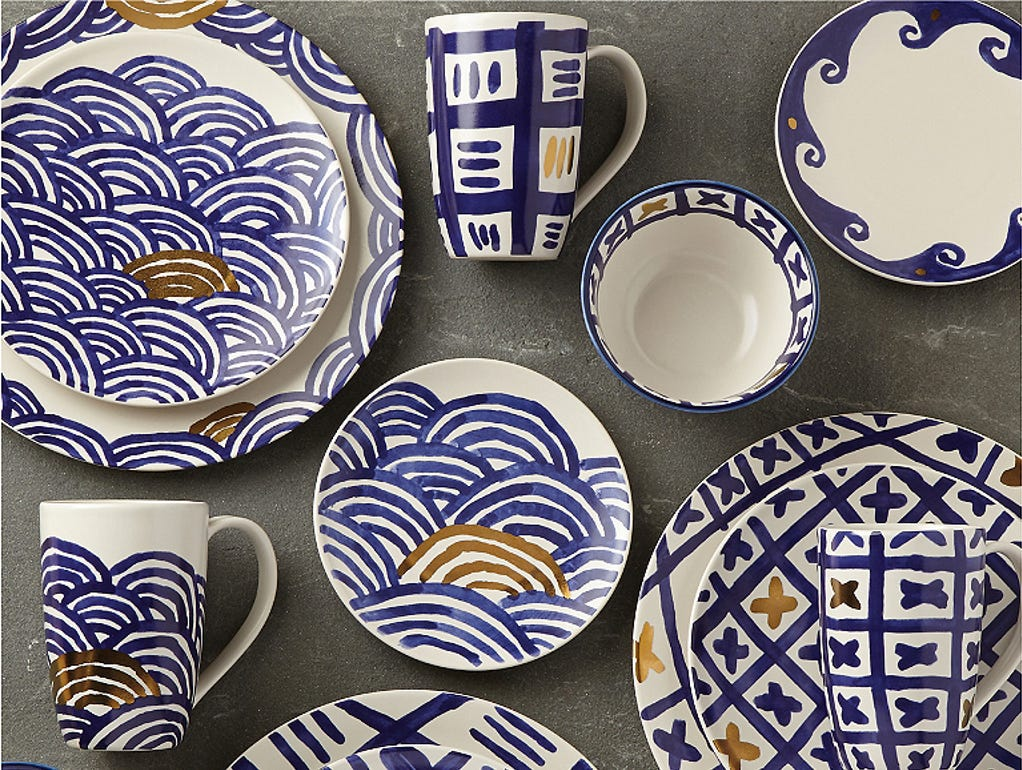 Crafted is a new artisanal dinnerware brand designed by artist Michael Wainwright for Lenox. The Pompeii collection inspires playful layering textures and mixing patterns for a casually elegant table. Crafted of durable stoneware, the dinnerware is dishwasher- and microwave-safe for every day. The charming blue-on-white patterns have gold accents.