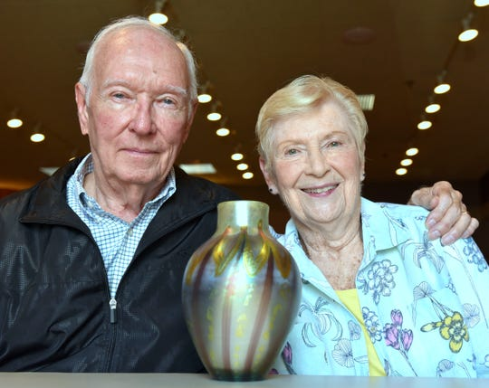Robert and Helen Montgomery with their  Tiffany  vase.