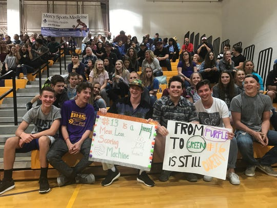 Fans at Bayfield High School when the CSU volleyball team played an exhibition there in April.