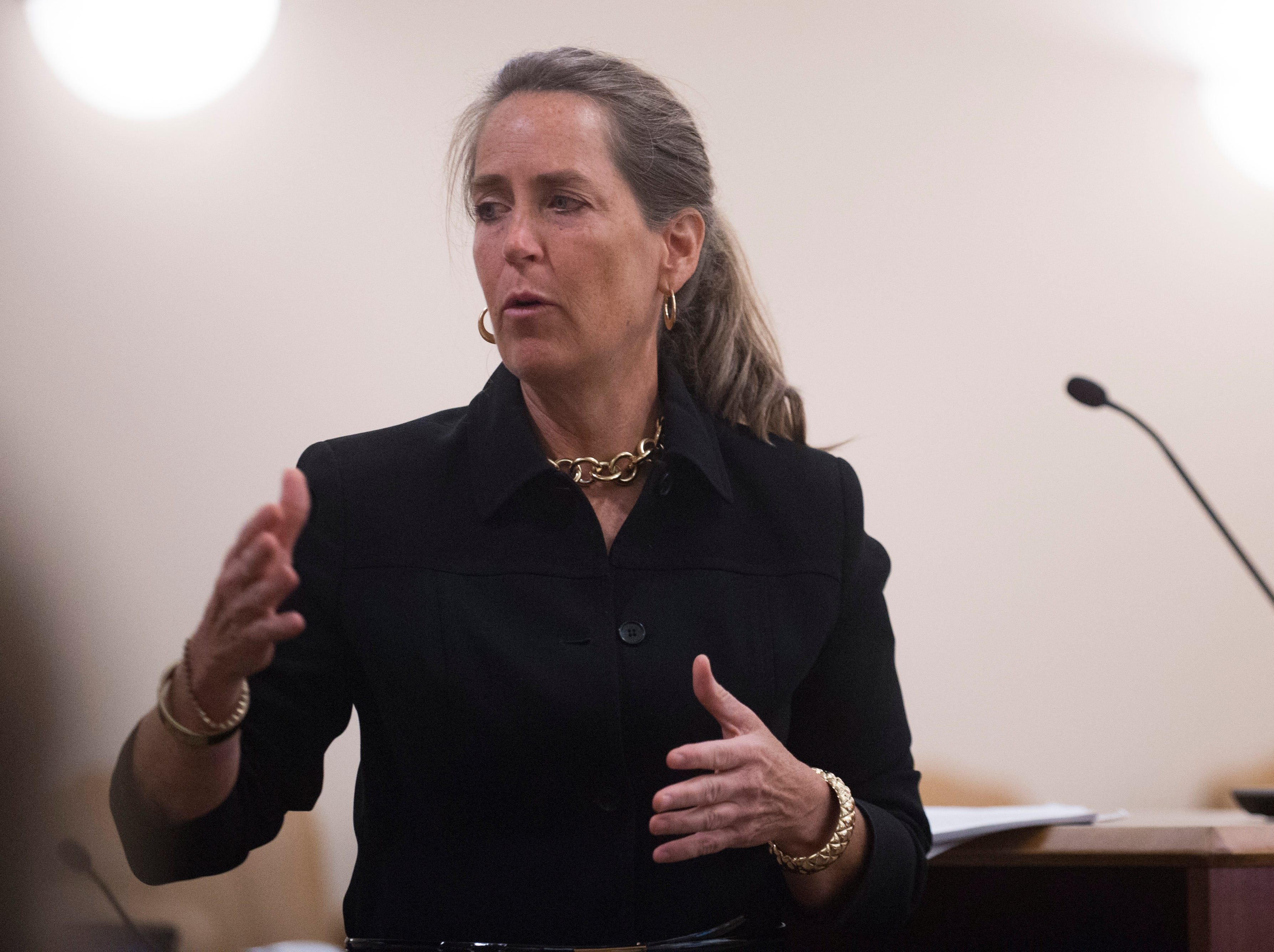 Defense Attorney Kathryn Hay speaks to the court during a hearing for Joshua Baker at Larimer County Justice Center on Thursday, September 20, 2018. Baker, of Ohio, was sentenced to 23 years in prison for his role in the robbery and murder of Devon Smeltz in 2016.